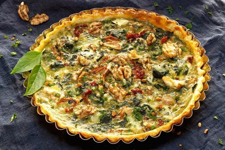 Spinach Quiche with Sun-Dried Tomatoes